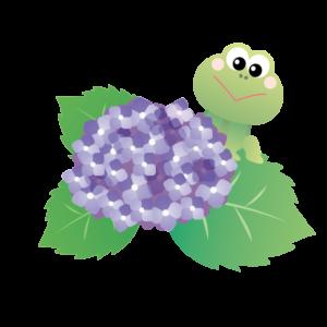 紫陽花とカエルの画像